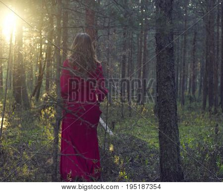 Dolly shot of young beautiful woman in red dress walking in the forest. Rear view