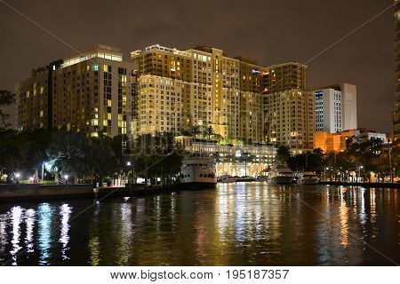 FORT LAUDERDALE, FL, USA - DEC. 25, 2014: Fort Lauderdale downtown luxurious apartment by the Tarpon River at night, Florida, USA.