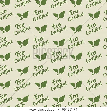 Eco certified sign. Green Vector seamless pattern.