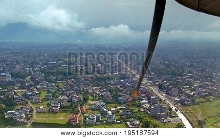 View of Pokhara from the plane, Nepal