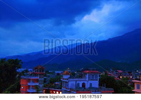 Pokhara and Lake Phewa in Nepal in the evening