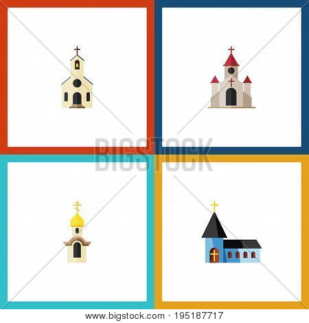 Flat Icon Church Set Of Christian, Structure, Building And Other Vector Objects. Also Includes Catholic, Structure, Christian Elements.