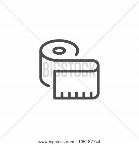 Measuring tape line icon isolated on white. Vector illustration