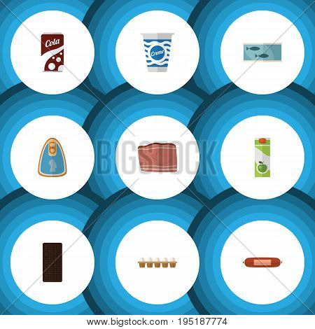 Flat Icon Food Set Of Yogurt, Packet Beverage, Confection And Other Vector Objects. Also Includes Tuna, Packet, Box Elements.