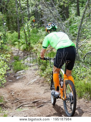 STOCKHOLM SWEDEN - JUNE 11 2017: Mountain bike cyclist in the forest cycling over roots and rocks at Lida Loop Mountain bike Race. June 11 2017 in Stockholm Sweden