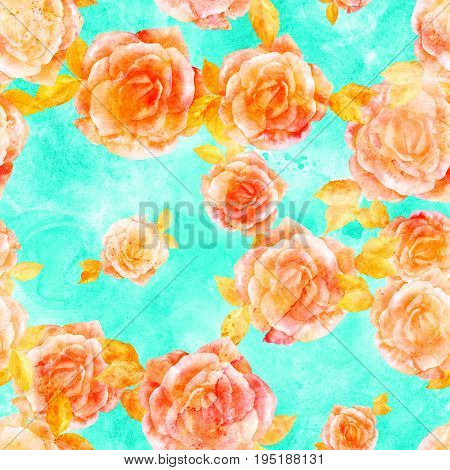 A seamless pattern of a watercolor drawing of a blooming golden rose, hand painted on a teal background in the style of vintage botanical art