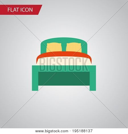 Isolated Bedding Flat Icon. Furniture Vector Element Can Be Used For Bedding, Bed, Furniture Design Concept.