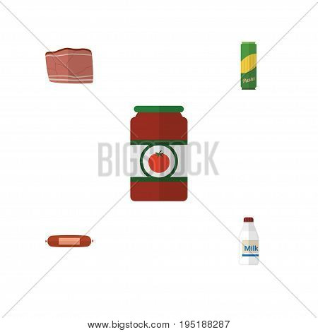 Flat Icon Meal Set Of Kielbasa, Beef, Ketchup And Other Vector Objects. Also Includes Ketchup, Bottle, Tomato Elements.