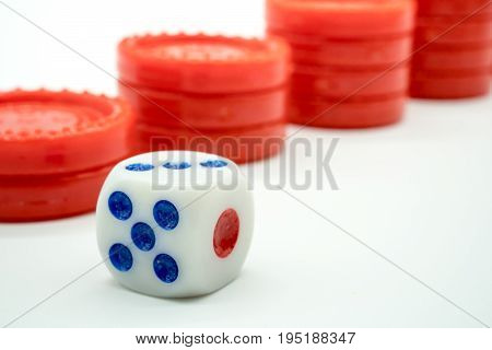 A Maximum Number Of Dice Facing Up Against Red Coin Rising Stacks