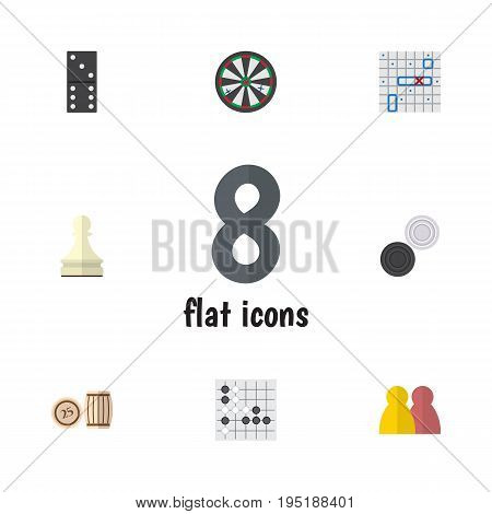 Flat Icon Games Set Of Chequer, Arrow, Gomoku And Other Vector Objects. Also Includes Multiplayer, Domino, Play Elements.