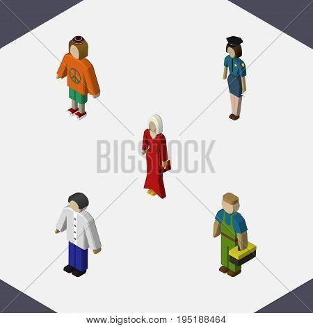 Isometric People Set Of Lady, Female, Plumber And Other Vector Objects. Also Includes Lady, Officer, Plumber Elements.