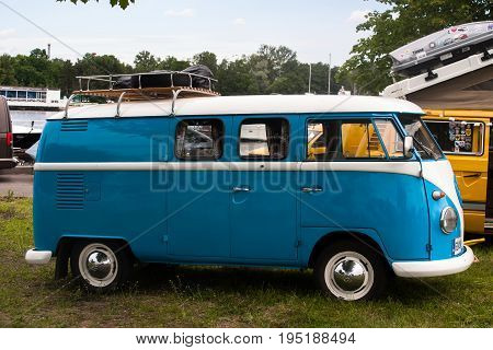 Saint Petersburg Russia - July 08 2017: Festival of old Volkswagen car Bughouse Fest 2017. Volskwagen Transporter in the exhibition. Horizontal.