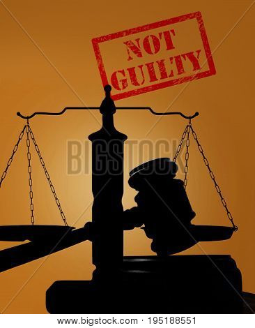 Court gavel and scales of justice with Not Guilty stamp
