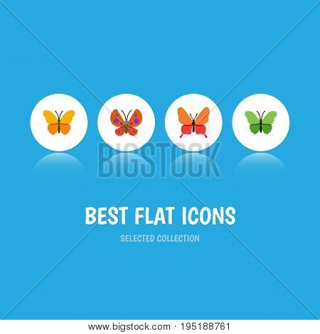 Flat Icon Moth Set Of Milkweed, Moth, Danaus Plexippus And Other Vector Objects. Also Includes Butterfly, Milkweed, Moth Elements.