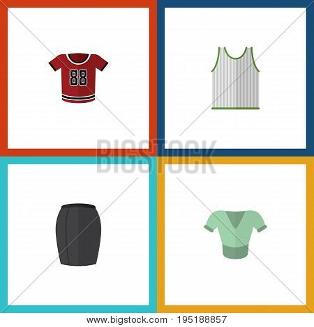Flat Icon Clothes Set Of Singlet, Stylish Apparel, T-Shirt And Other Vector Objects. Also Includes Tank, Singlet, Blouse Elements.