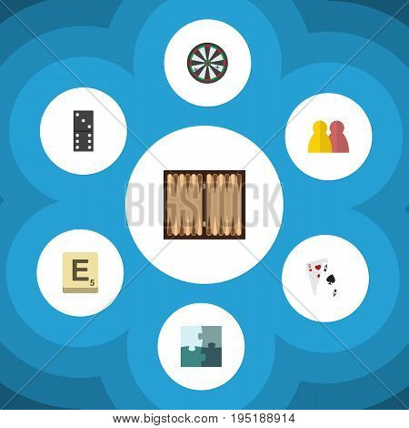 Flat Icon Games Set Of Arrow, Mahjong, Jigsaw And Other Vector Objects. Also Includes Enigma, Jigsaw, Bones Elements.
