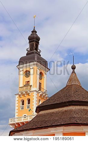 Tower of Kamianets-Podilskyi town hall in Ukraine