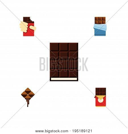 Flat Icon Sweet Set Of Dessert, Chocolate Bar, Delicious And Other Vector Objects. Also Includes Cocoa, Dessert, Chocolate Elements.