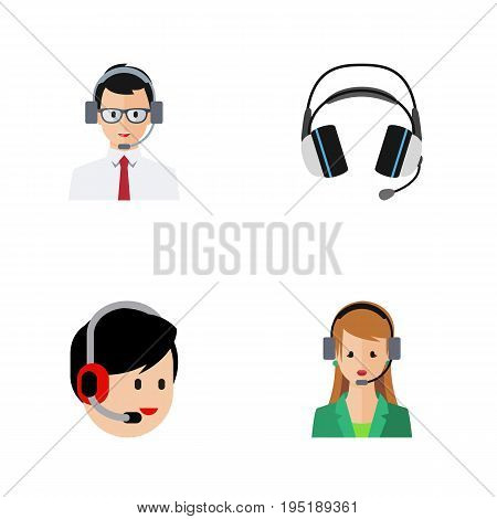 Flat Icon Telemarketing Set Of Help, Earphone, Secretary And Other Vector Objects. Also Includes Help, Secretary, Earphone Elements.