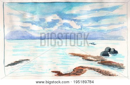 Sea view with distant island during low tide. Seaside of tropical island hand-drawn illustration. Watercolor seascape. Summer travel sketch of sea and beach. Blue sky and blue sea water painting