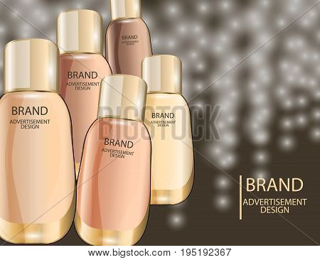 Glamorous foundation glass bottles Isolated on white background. Mock-up 3D Realistic Vector illustration for design template