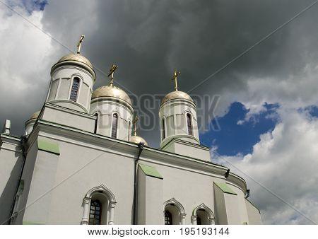 Orthodox church under stormy sky religious wallpaper
