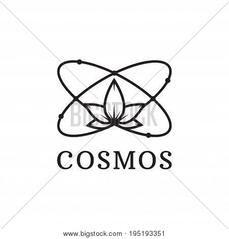 Simple black icon of atom. cosmos logo. Chemistry, physics, science concept. Linear logo for websites, mobile apps and other design needs. Vector contour pictograph