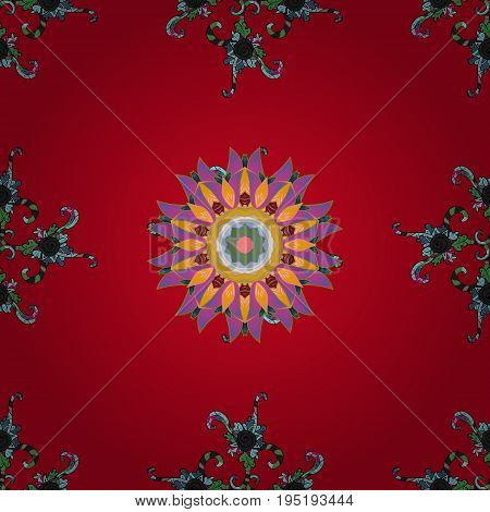 Flowers on colored background. Seamless Floral Pattern in Vector illustration.