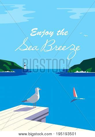 Nautical poster concept. Blue sea scenic view. Marine yacht sailing on blue water. Hand drawn cartoon retro style. Maritime vector Illustration of recreation on seashore. Seaside banner background