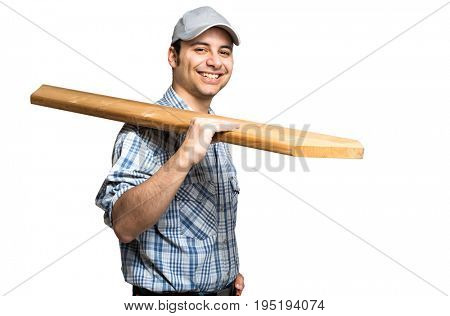 Smiling carpenter isolated on white