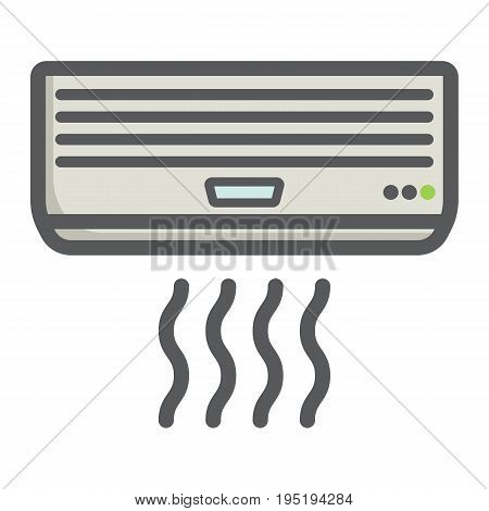 Air conditioner colorful line icon, electric and appliance, vector graphics, a filled pattern on a white background, eps 10.