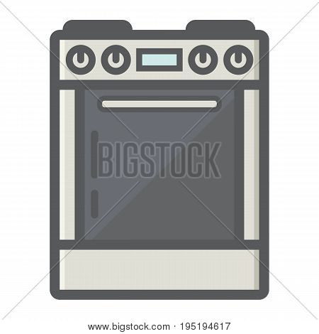 Gas stove colorful line icon, kitchen and appliance, electric range vector graphics, a filled pattern on a white background, eps 10.