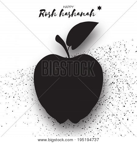Jewish New Year, Rosh Hashanah. Apple Paper cut style. Black silhouette. Holiday. Vector illustration
