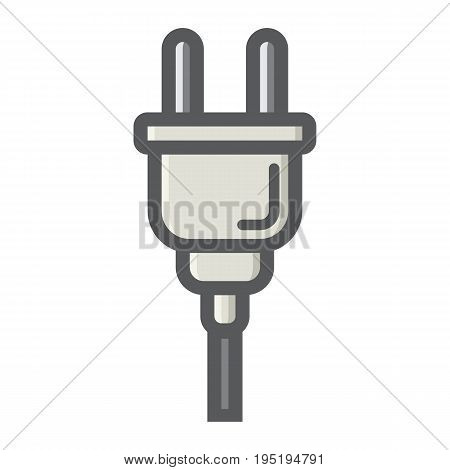 Electric plug colorful line icon, power and appliance, vector graphics, a filled pattern on a white background, eps 10.