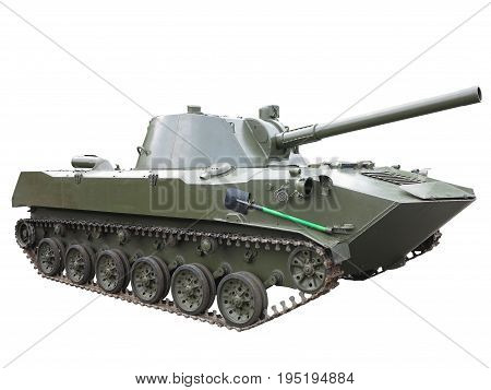 Russian green infantry fighting vehicle isolated over white
