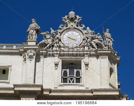 Statues and architectural details on Saint Peter square in Vatican Roma Italy