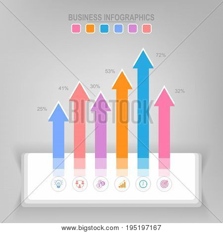 Infographic template of steps on squares tag banner work sheet flat design of business icon vector