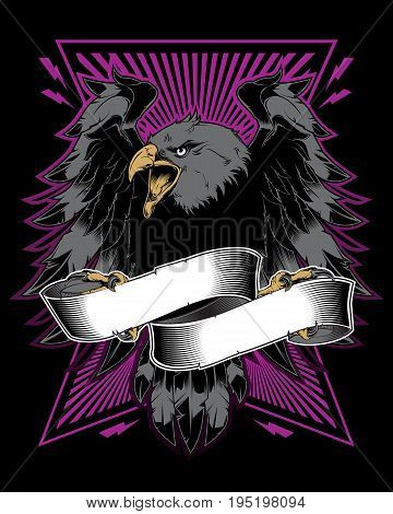 Angry falcon holding ribbon. Vector illustration. T-shirt design