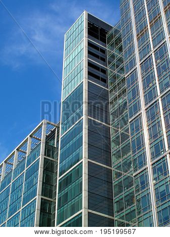 London, UK, September 27, 2009 :  Modern glass skyscraper in Canary Wharf at London's Docklands