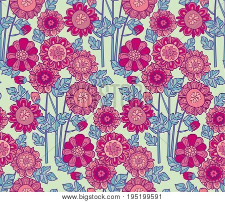 merygold flower seamless pattern. aster floral decorative vector illustration. fall blossom in oink color motif. autumn flowers rustic peasant style element
