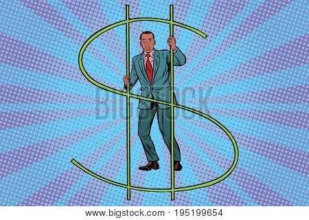 African businessman behind bars money. Financial crime. Black professional. Pop art retro vector illustration