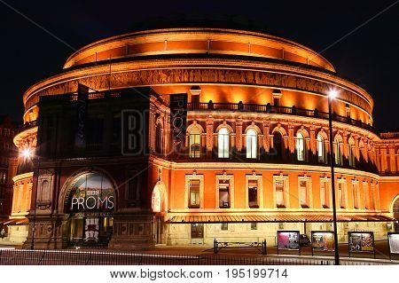 London, UK, August 9, 2007 : Royal Albert Hall at night in Kensington which is a leading classical music venue and the home of the Proms
