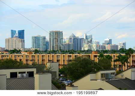 Fort Lauderdale downtown skyline in Fort Lauderdale, Florida, USA.