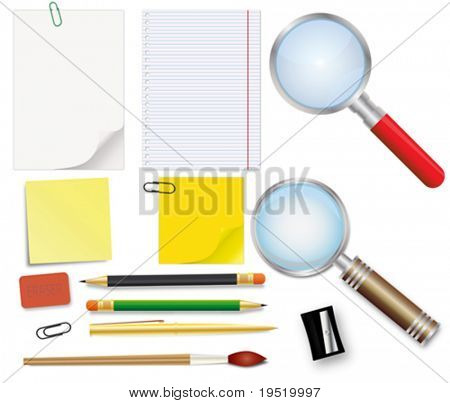 Set of school supplies - an illustration for your design project.