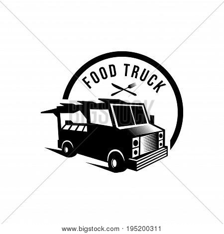 Vector illustration of street food truck graphic badge set. Food old logo design. Foodstuffs white background Vintage kitchen print element with fork and knife, text and truck on grunge spot,Eps8,Eps10