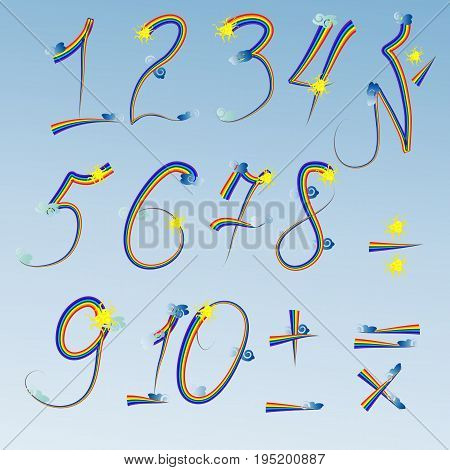 Figures from one to ten written by a rainbow contour decorated with clouds and suns. Plus minus equal multiply divide. Training poster.