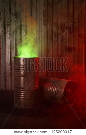 Old rusty barrels with toxic smoke, biohazard, post-apocalyptic concept