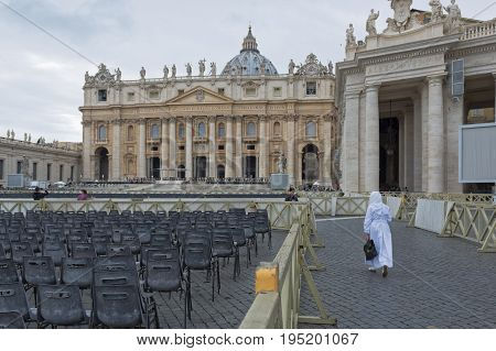 Vatican city, Vatican city state - October 02: St. Peter's Square in the Vatican detail of seating for pilgrims. at the Vatican City State on October 02 2015