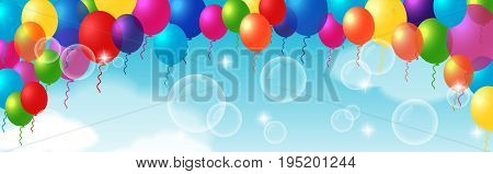 Decorative element with hanging balloons. For greeting cards, posters, banners, leaflets and brochures.