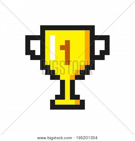 Pixel art golden cup award trophy icon set
